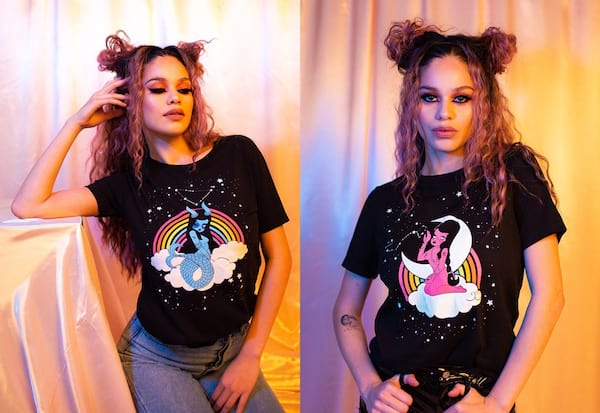 Valfré Zodiac Collection, woman wearing Capricorn and Scorpio tees from the Valfré  odiac Collection, fashion