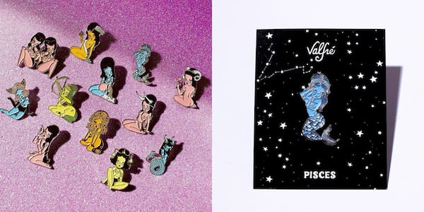 Valfré Zodiac Collection, two images of pins from Valfré's Zodiac Collection, fashion
