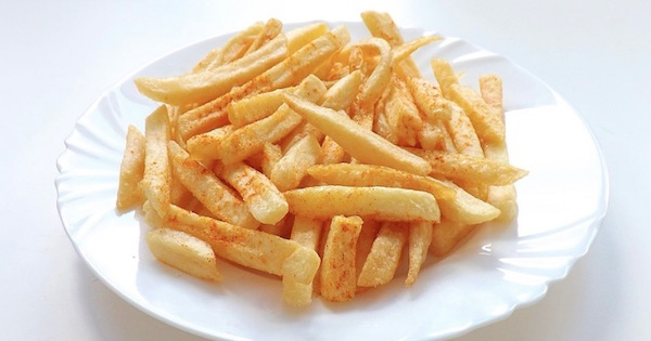 french fries on white plate, food