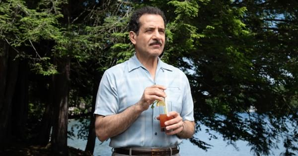 tv, abe weissman on the marvelous mrs. maisel standing outside holding a drink