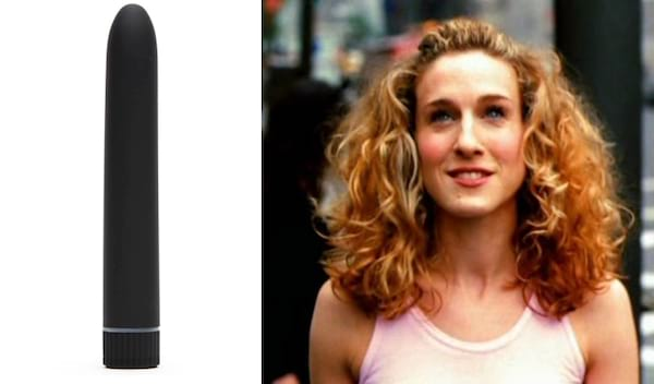 Black classic vibrator next to an image of Carrie from Sex and the City