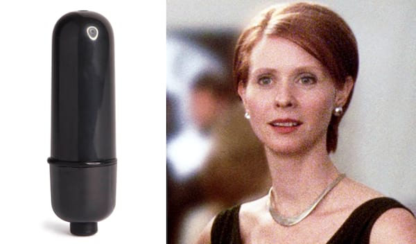 Black bullet vibrator next to an image of Miranda from Sex and the City