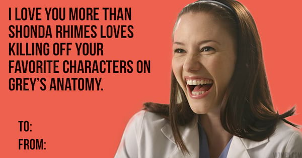 we made 'grey's anatomy' valentine's day cards to give to