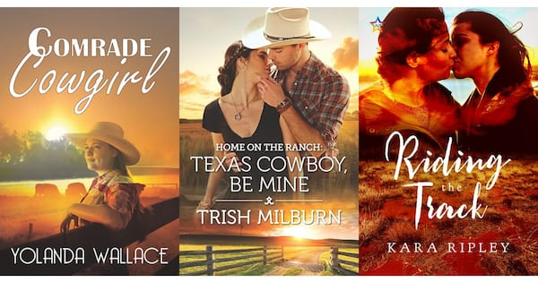 books, three book covers of Western Romance Novels, Western Romance Novels