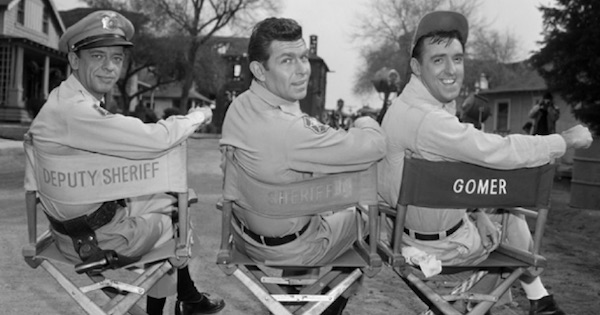 the andy griffith show andy deputy and gomer sitting in chairs tv show from 1960s