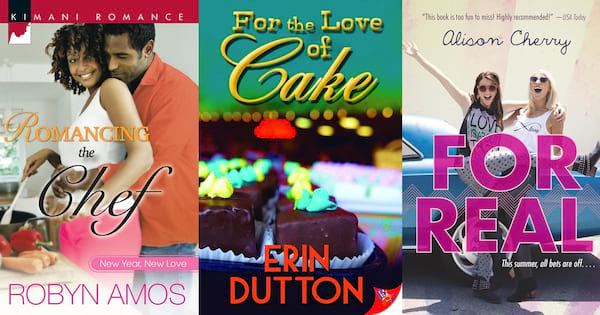 Reality Show Romance Novels, three images of books taking place on reality TV shows, books, tv