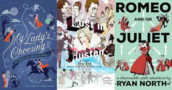 Choose Your Own Romance Novels, three book covers of choose your own romance novels, books