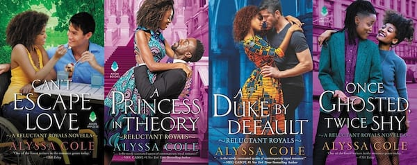 Inclusive Romance Series, four book covers from Alyssa Cole's Reluctant Royals series, books