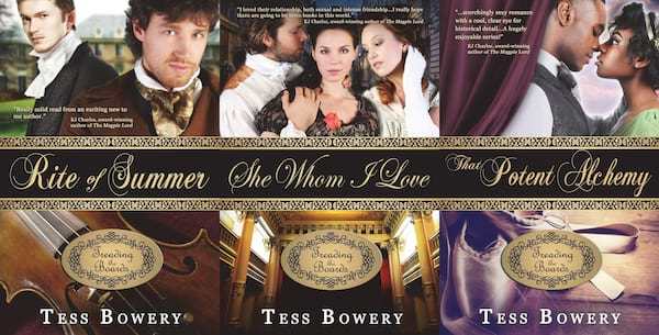Inclusive Romance Series, three covers from Tess Bowery's Treading the Boards series, books