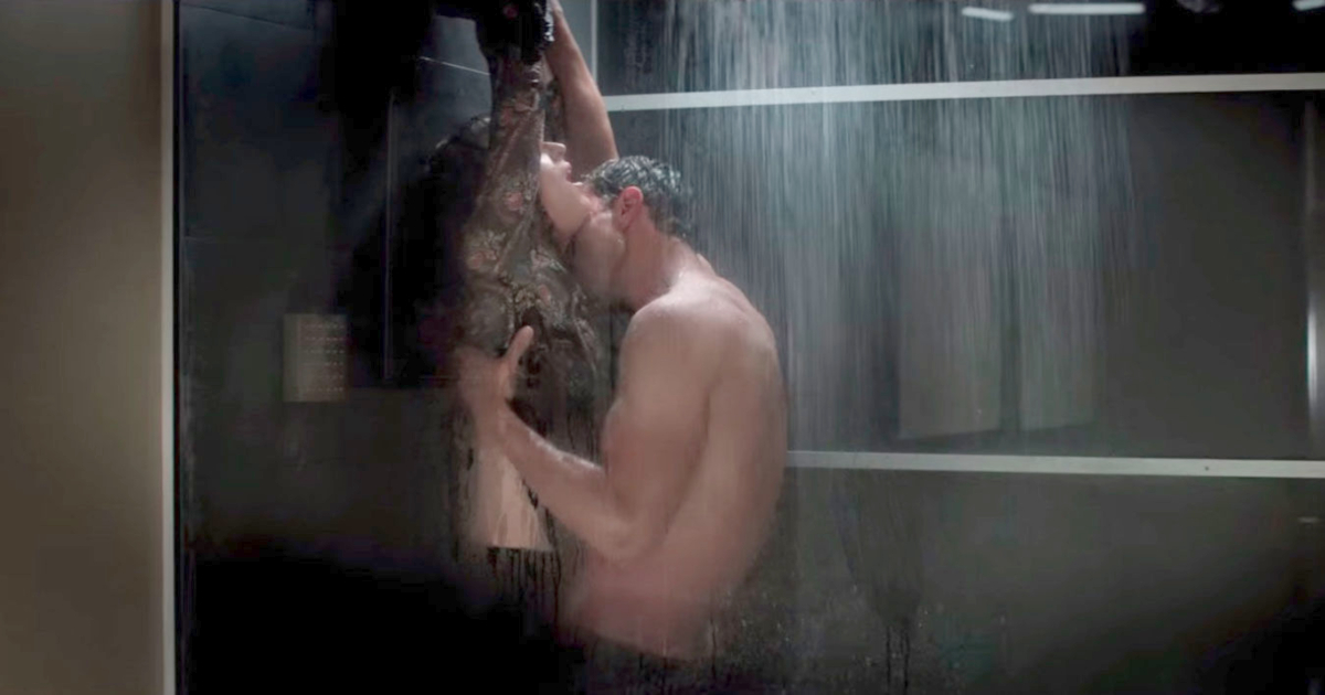 Ana and Christian enjoying shower sex in Fifty Shades Freed