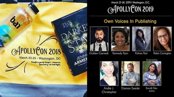 Romance Conventions, a photo of a yellow ApollyCon bag and a photo of the Own Voices panel lineup at ApollyCon, books
