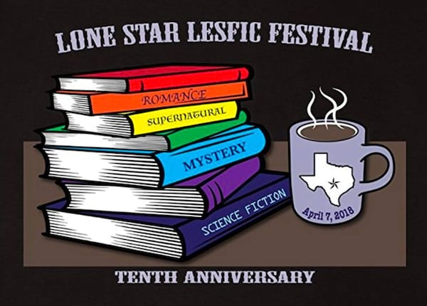 Romance Conventions, photo of computer generated image of a stack of books with the words \Lone Star LesFic Festival\