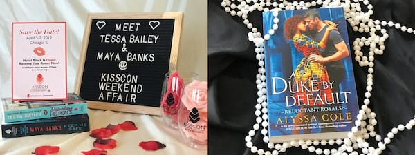 Romance Conventions, one photo advertising KissCon and the second a photo of Alyssa Cole's book A Duke By Default, books