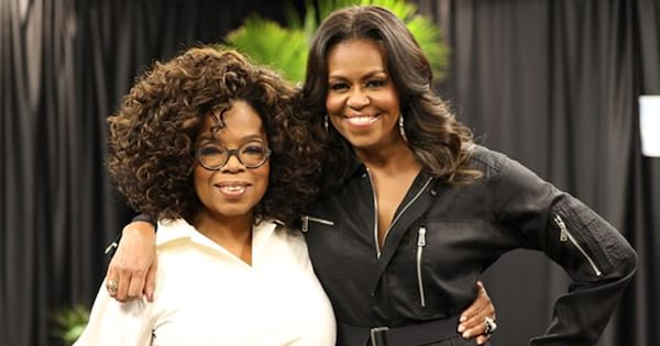 Michelle Obama posing with Oprah in an Instagram image