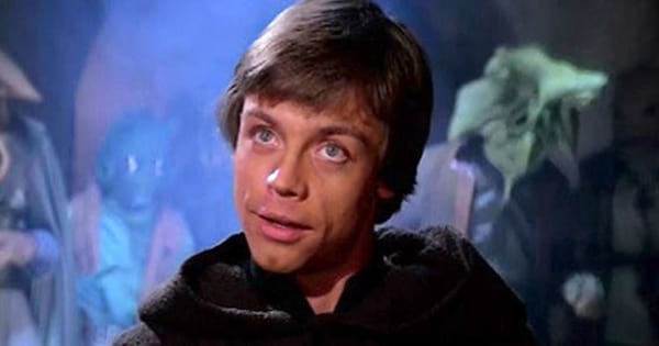 Luke Skywalker with a smirk on his face in Return of the Jedi