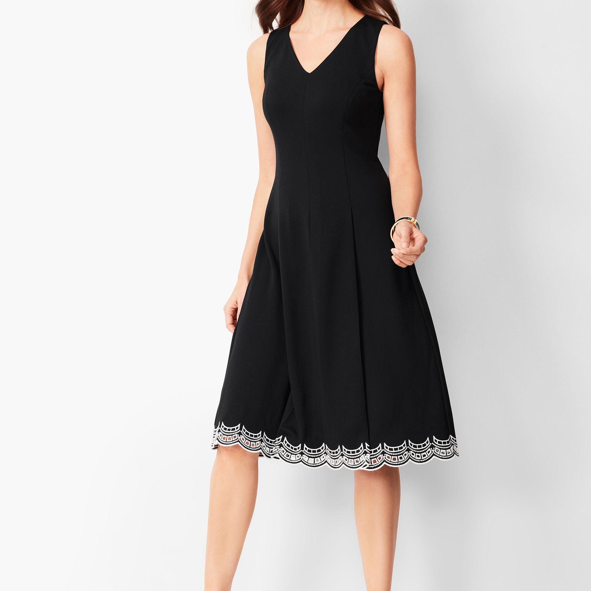 Embroidered Ponte Fit and Flare Dress from Talbots