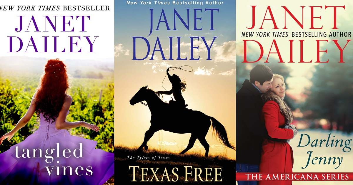 Janet Dailey Romance Novels, three book covers of Janet Dailey romance novels, books