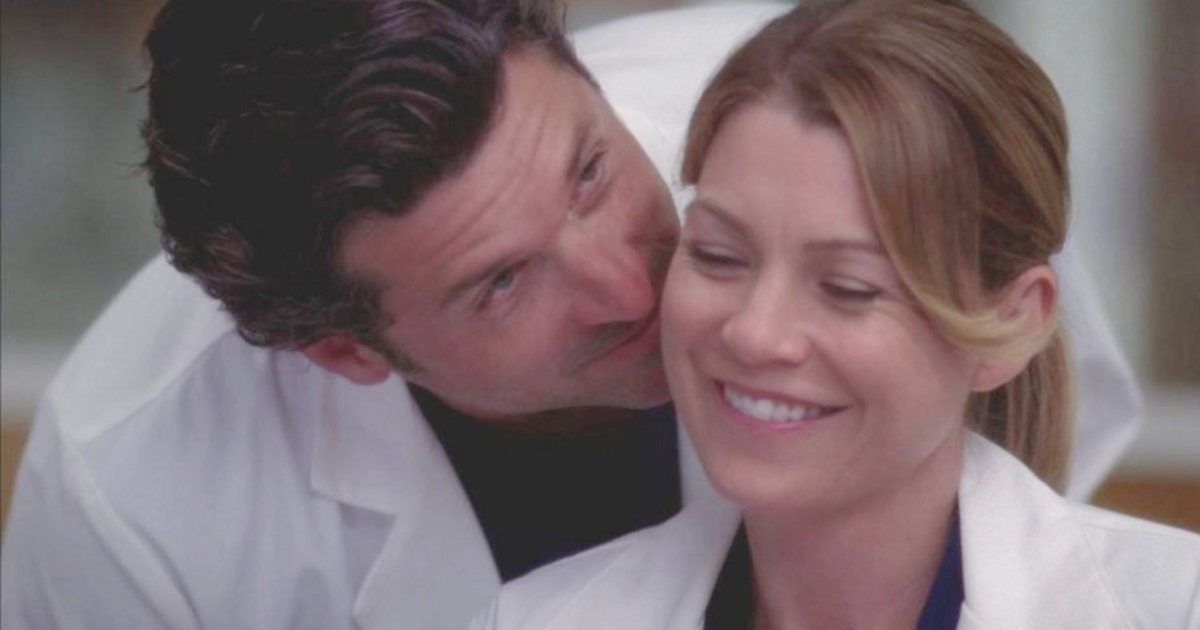 Meredith and Derek getting cozy on Grey's Anatomy