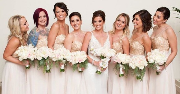 jade roper wedding with bridesmaids and flowers, bachelor nation