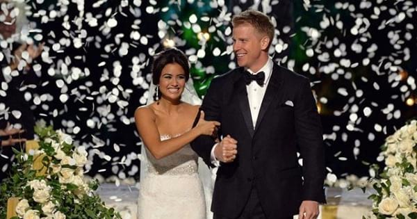 sean and catherine lowe wedding smiling marriage, bachelor nation