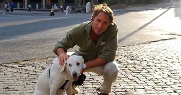the bachelor, lorenzo borghese with dog in rome