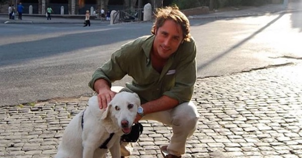 lorenzo borghese with dog in rome, the bachelor
