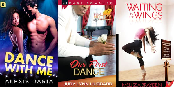 Romance Novels About Dancers, three book covers with romance novels about dancers, books