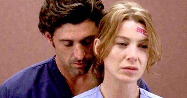 Meredith and Derek getting cozy in an elevator on Grey's Anatomy