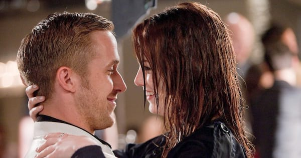 love, stupid, Ryan Gosling and Emma Stone in a close embrace during Crazy