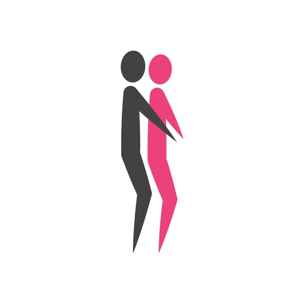 Stick figures in spooning sex position