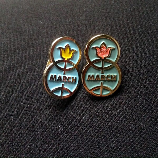 March 8 lapel pin from Etsy