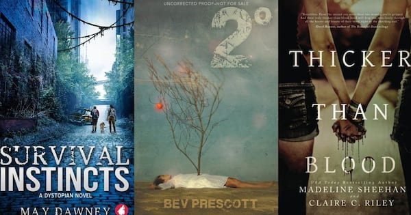 Dystopian Romance Novels, the book covers of three dystopian romance novels, books