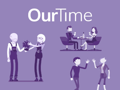 Homepage for senior dating site OurTime