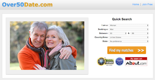 Homepage for senior dating site Over50Date.com