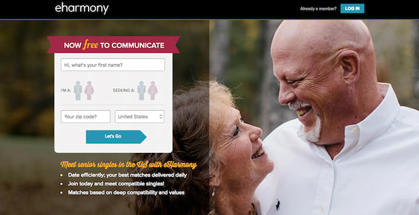 Homepage for the senior dating section of Eharmony