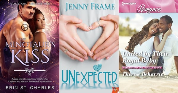 Pregnancy Romance Novels, book covers of three pregnancy romance novels, books