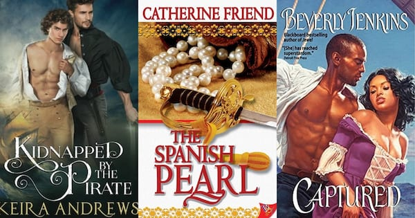 Pirate Romance Novels, book covers of three pirate romance novels, books