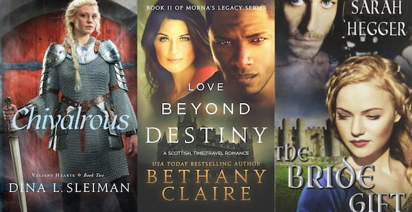 Medieval Romance Novels, the book covers of three medieval romance novels, books