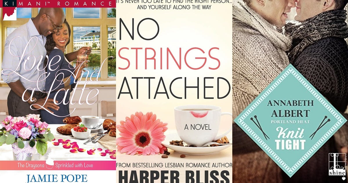 Coffee Shop Romance Novels, three book covers of coffee shop romance novels, books