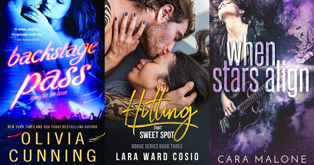 Rocker Romance Novels, three book covers of rocker romance novels, books