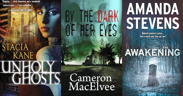 Haunting Romance Novels, three book covers of haunting romance novels, books