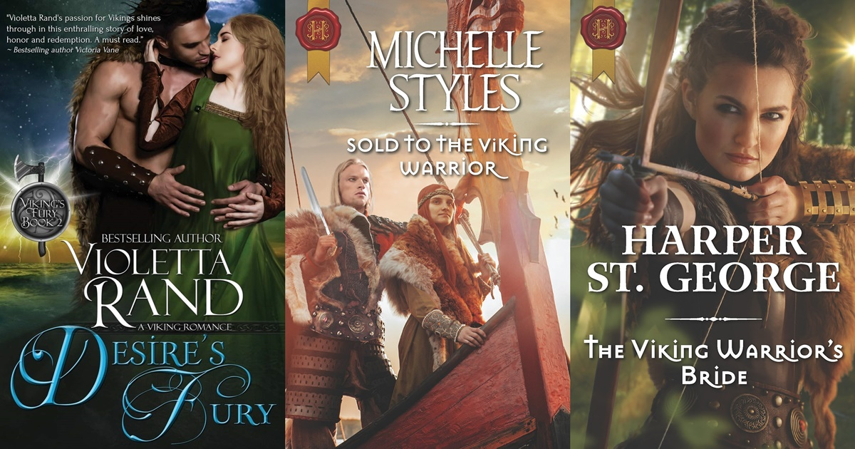 Viking Romance Novels, the book covers of three viking romance novels, books