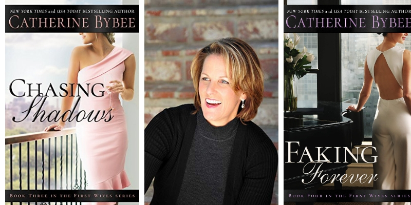 a middle picture of author Catherine Bybee with two of her novel covers on either side