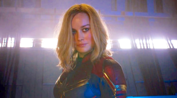 Brie Larson as Captain Marvel in her superhero uniform with her hair down