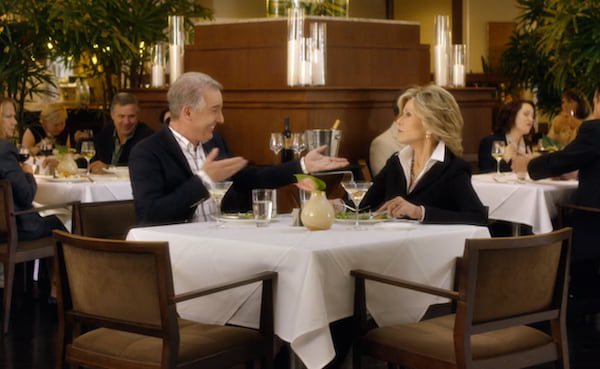 Grace on an date with an older gentleman in Grace and Frankie