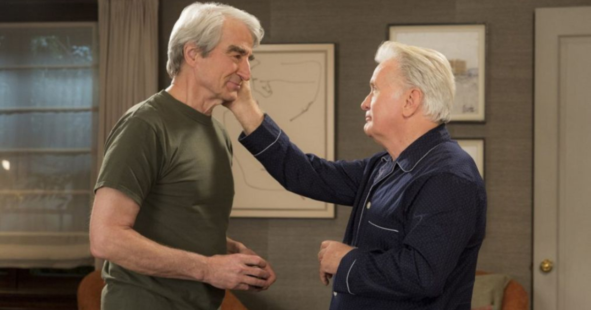Martin Sheen caressing Sam Waterson's face on Grace and Frankie