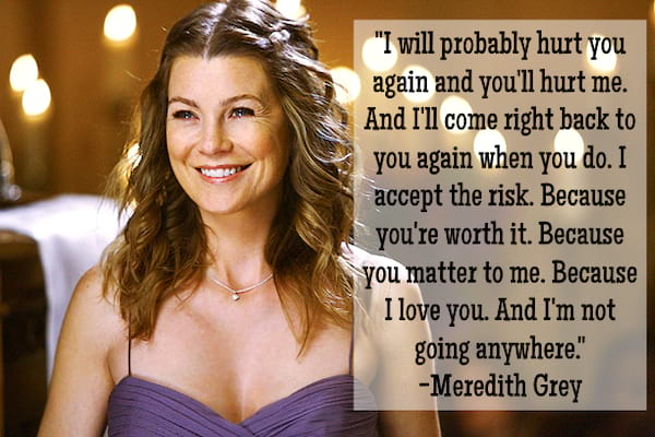 Meredith Grey quote about why she loves Derek