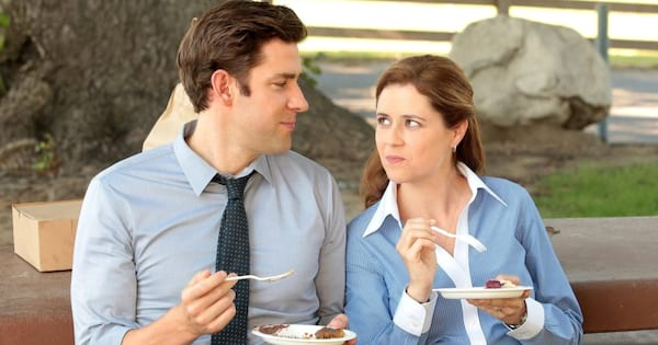 Jim and Pam eating pie together on The Office