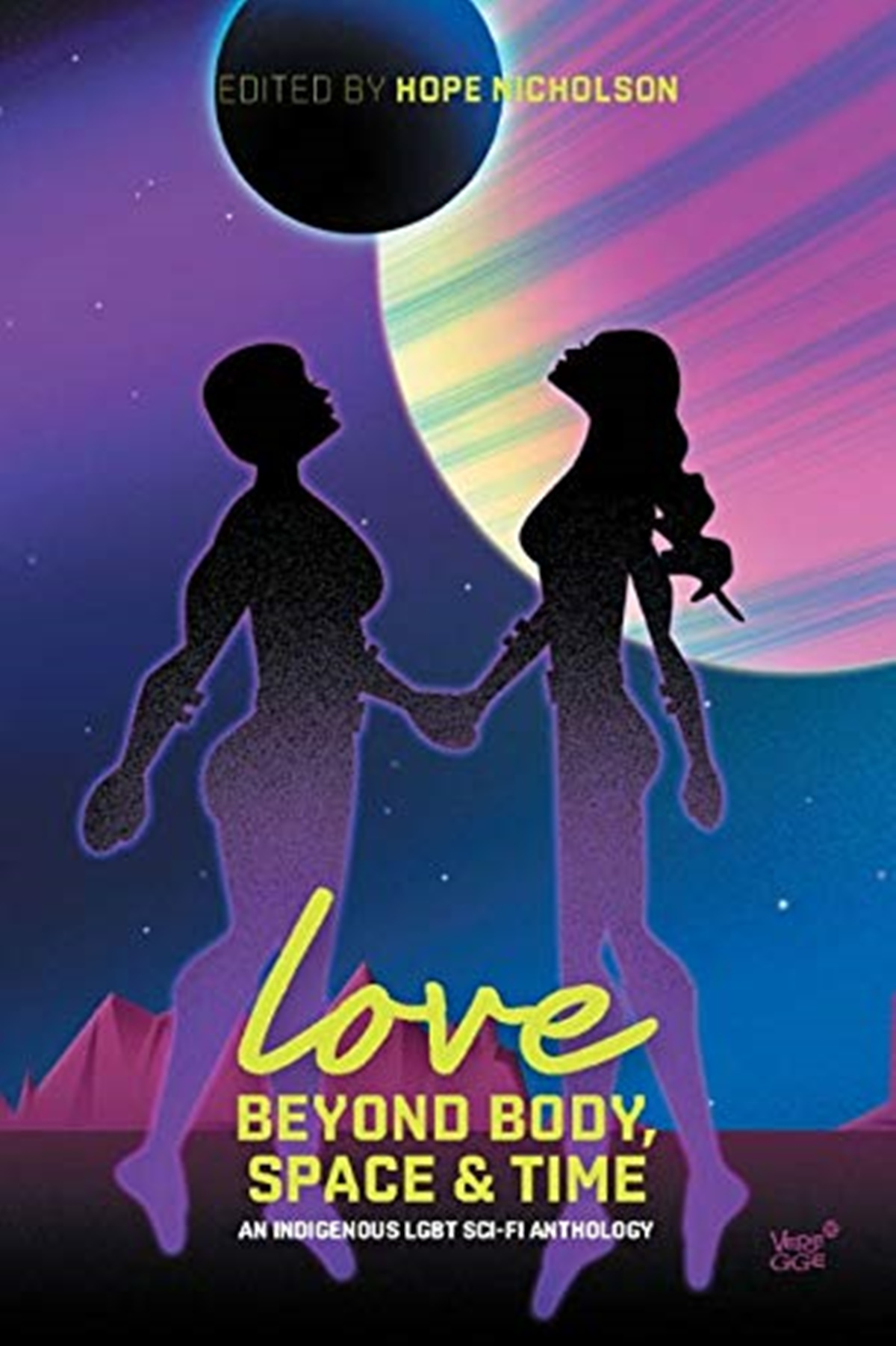 Native American Romance Novels, cover of Love Beyond Body, Space and Time: An Indigenouse LGBT Sci-Fi Anthology edited by Hope Nicholson, books