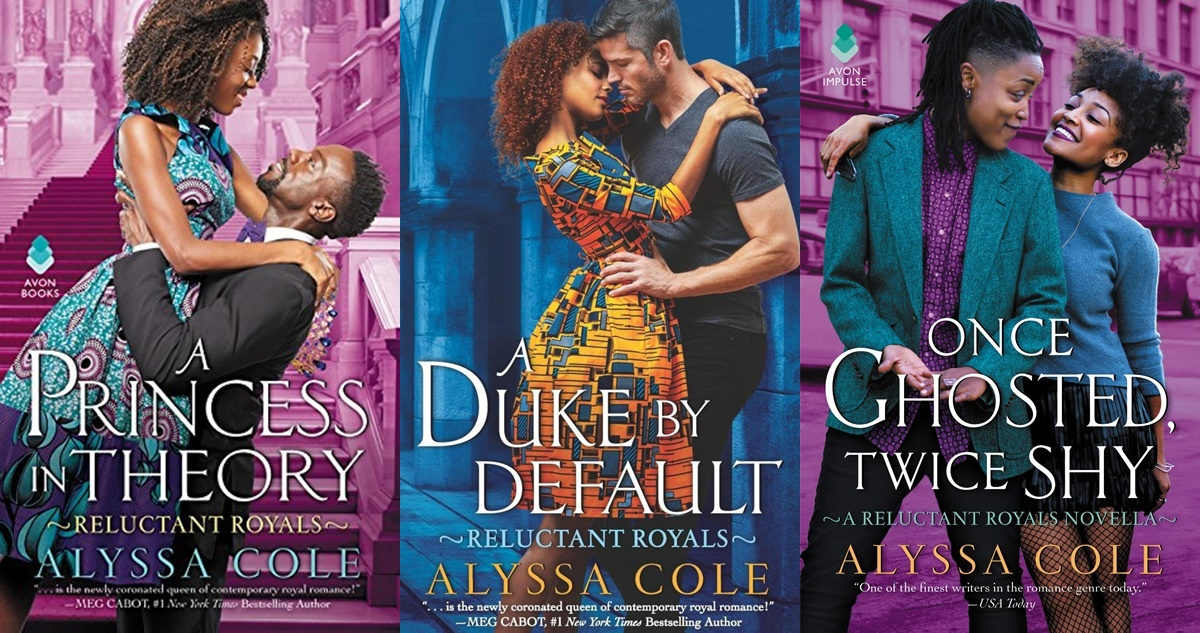 Romance Book Series, three book covers from Alyssa Cole's Reluctant Royals series, books